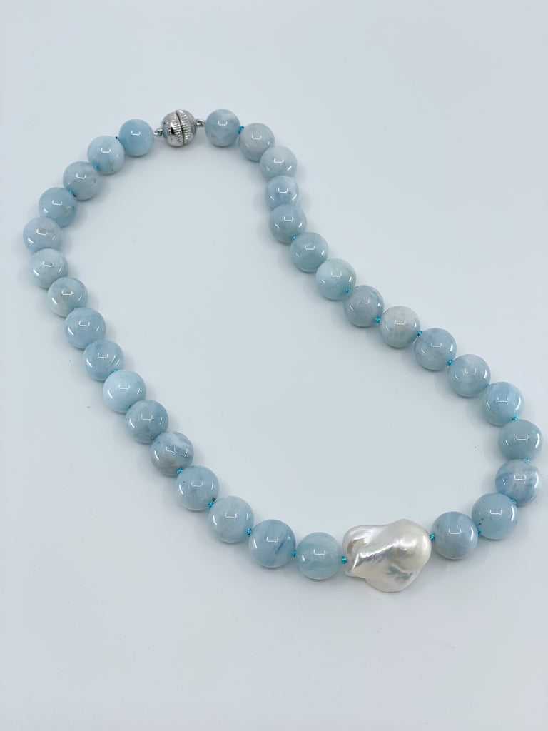 Shop Aquamarine & Baroque Pearl Necklace at Rose St Trading Co