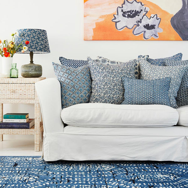 Shop Talum Azure Linen Cushion -50x50cm at Rose St Trading Co