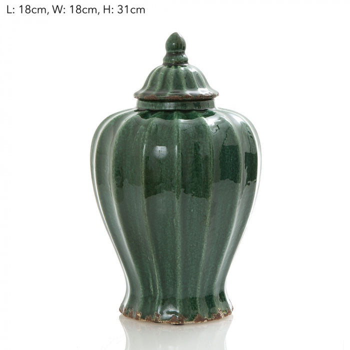 Shop Green Fluted Jar - Medium at Rose St Trading Co