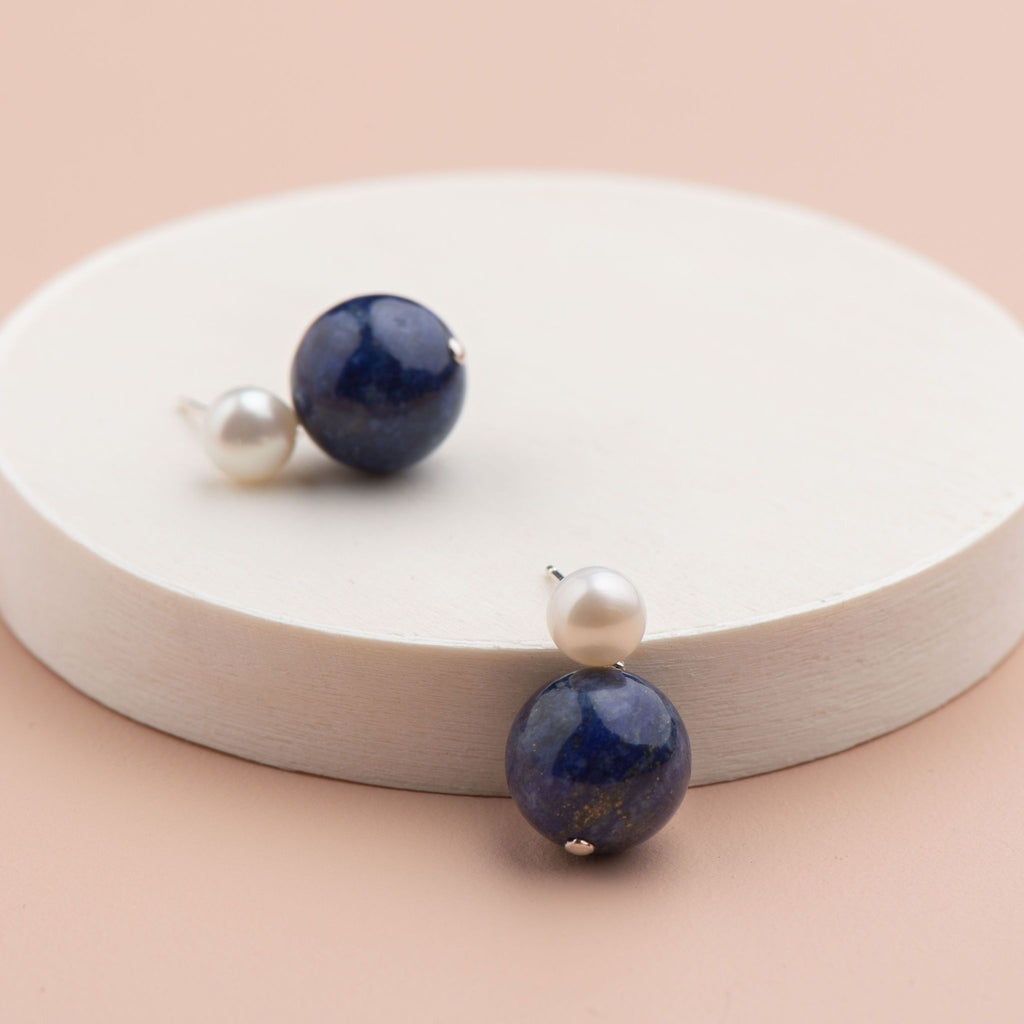Shop Pearl Stud with Semi Precious Drop Earring | Lapis at Rose St Trading Co
