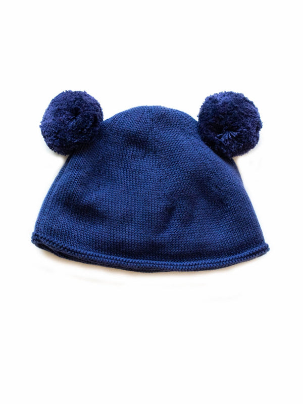 Shop Double Pom Pom Hat - Indigo at Rose St Trading Co