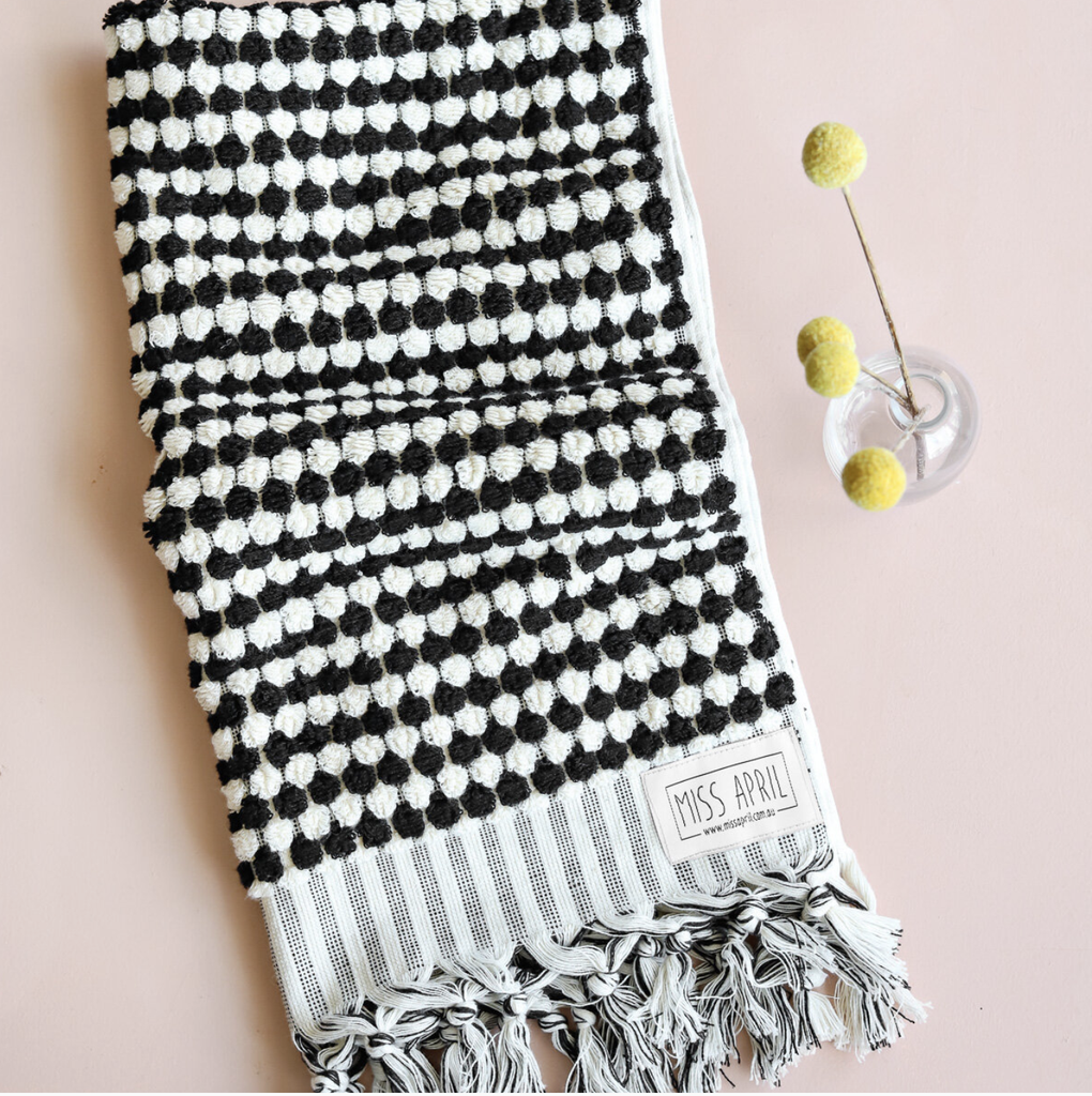 Shop Pom Pom Hand Towel - Black & White at Rose St Trading Co