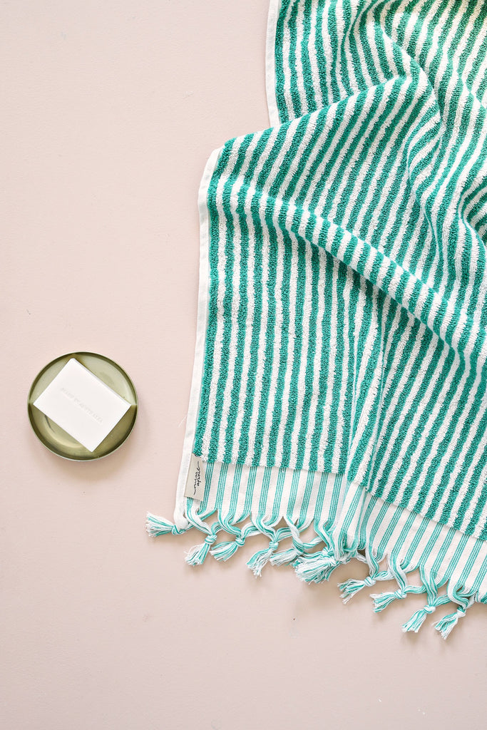 Shop Striped Turkish Towel | Green at Rose St Trading Co