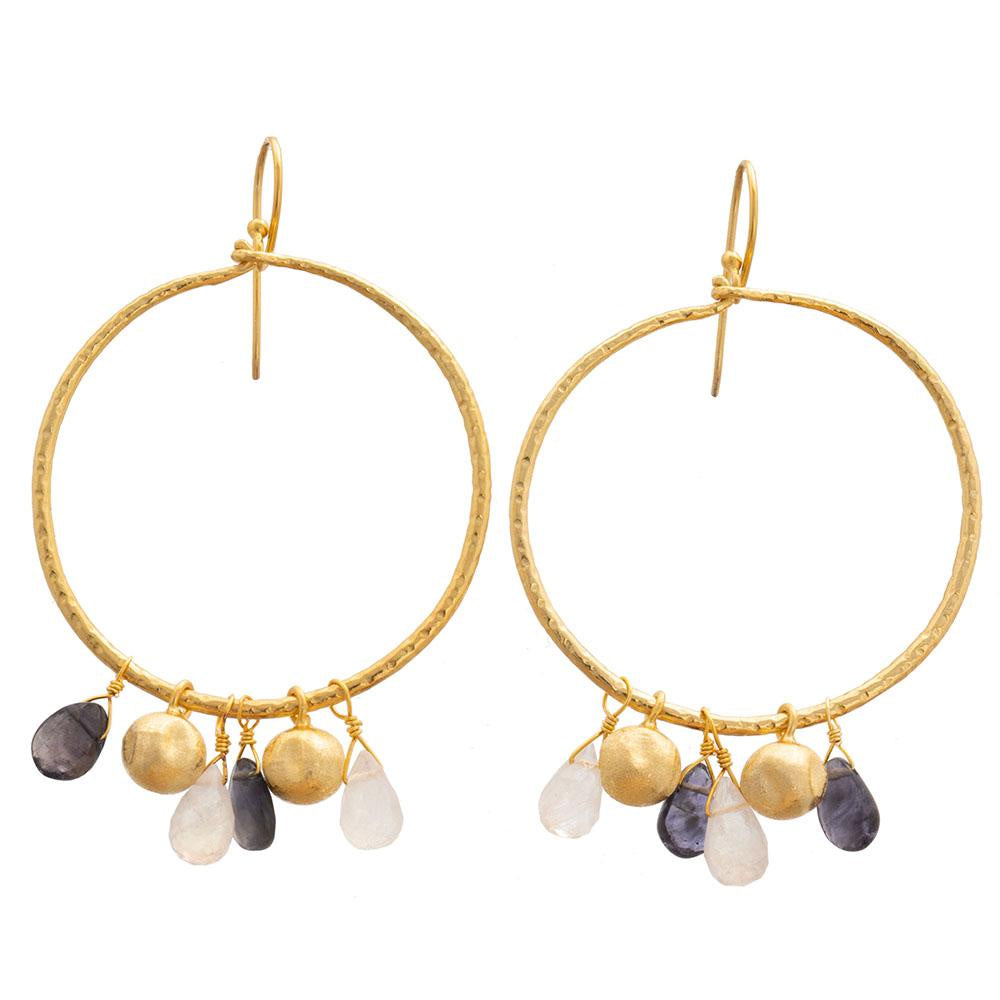 Shop Gold Plate Hoop Earrings | Iolite & Rainbow Moonstone at Rose St Trading Co