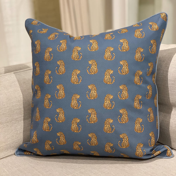 Shop Dancing Leopards Cushion | Blue at Rose St Trading Co