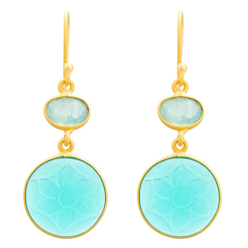 Shop Carved Apatite Glass & Blue Topaz Earrings at Rose St Trading Co