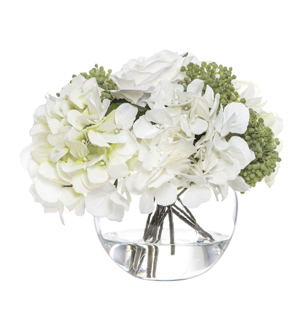 Shop Rose Hydrangea Bouquet in Glass Bowl at Rose St Trading Co