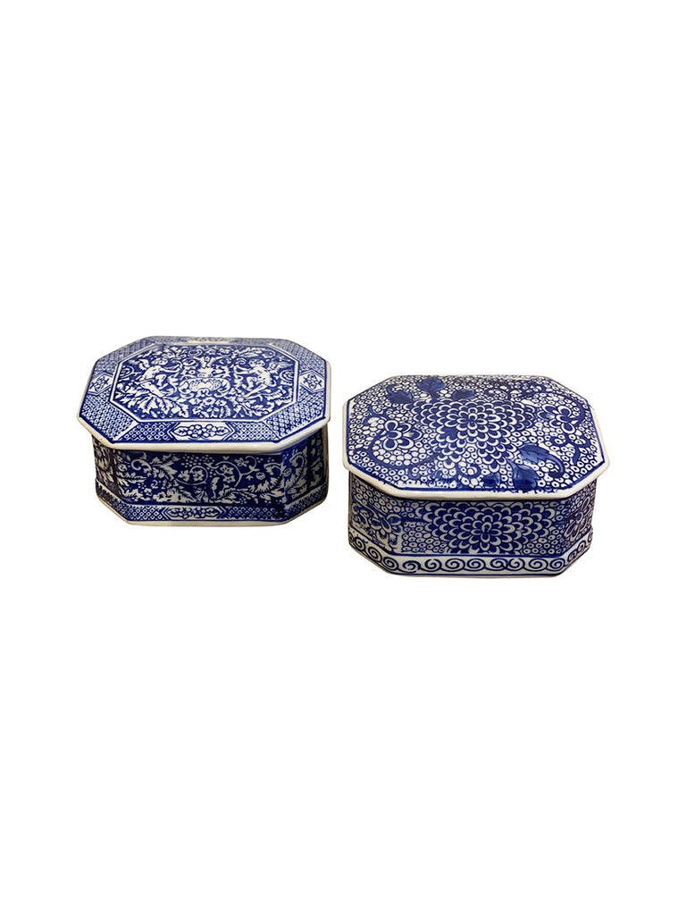 Shop Blue and White Octagonal Box - 13cm at Rose St Trading Co