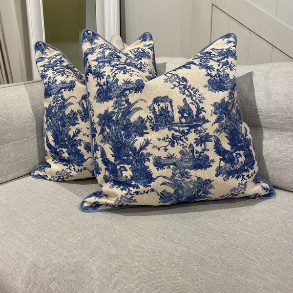 Shop Blue Toile Cushion at Rose St Trading Co