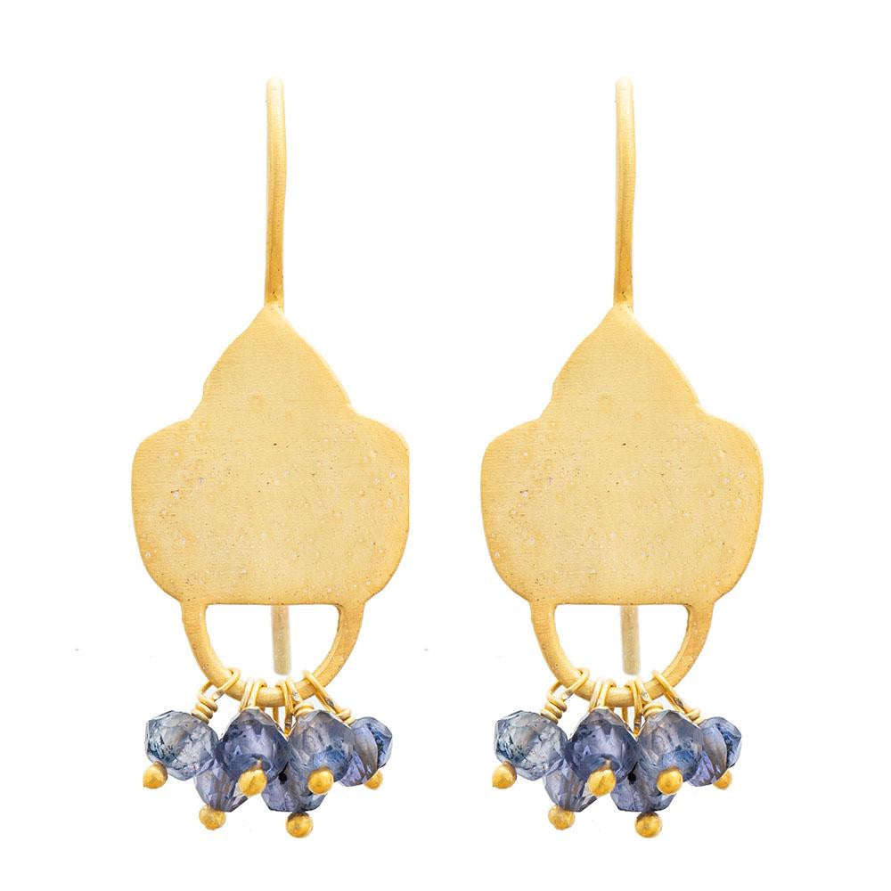 Shop Gold Plate Iolite Shield Earrings at Rose St Trading Co