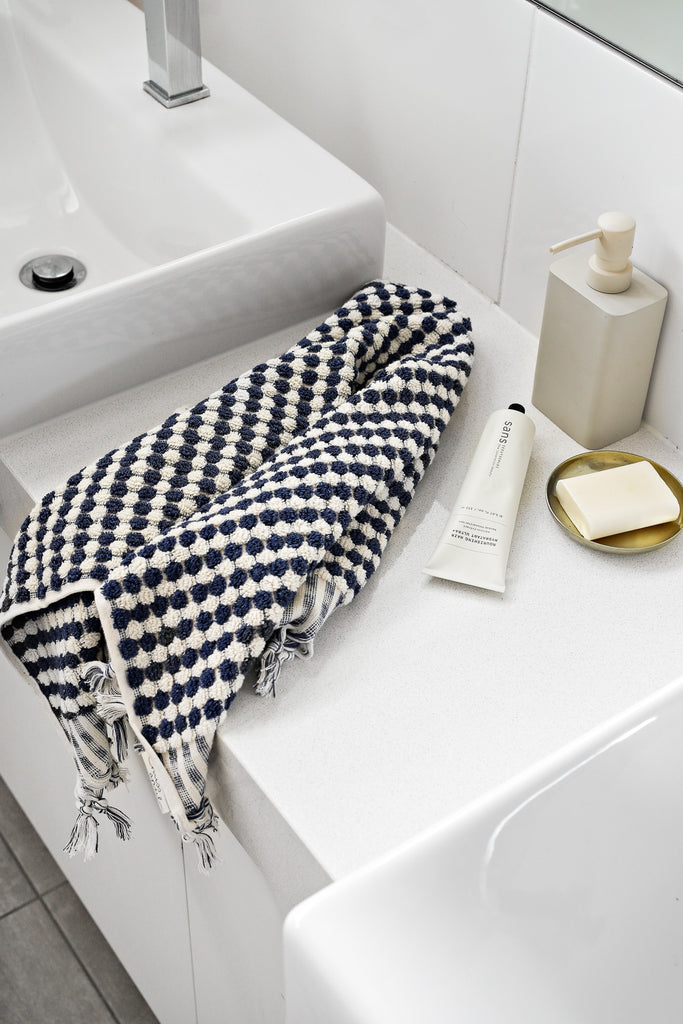 Shop Pom Pom Hand Towel | Navy & White at Rose St Trading Co