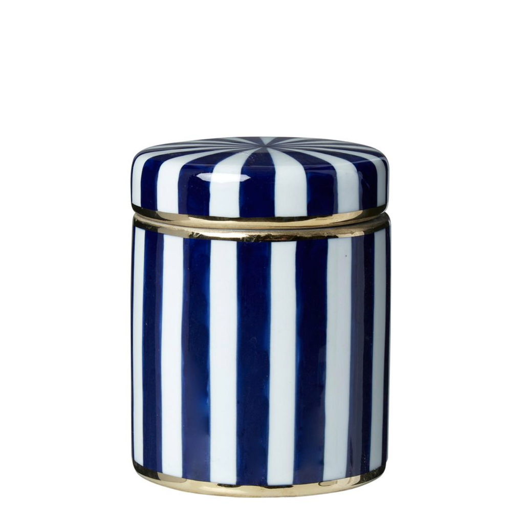 Shop Paris Stripe Jar Small Blue at Rose St Trading Co