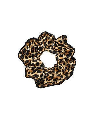 Shop Scrunchie with Trim | Leopard Satin at Rose St Trading Co