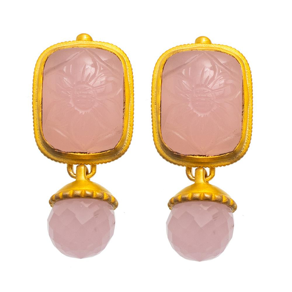 Shop Rose Quartz Carved Glass  Earrings at Rose St Trading Co