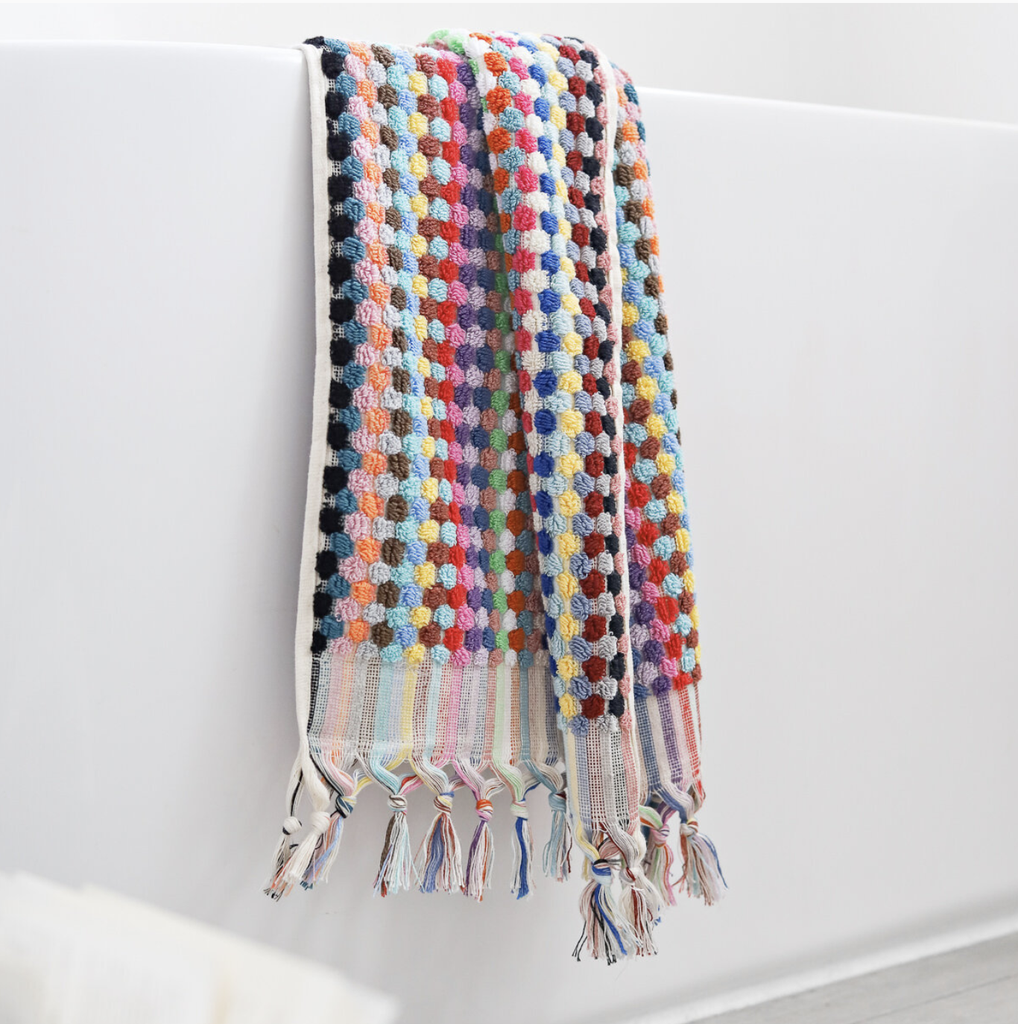 Shop Pom Pom Bath Towel - Multicoloured at Rose St Trading Co