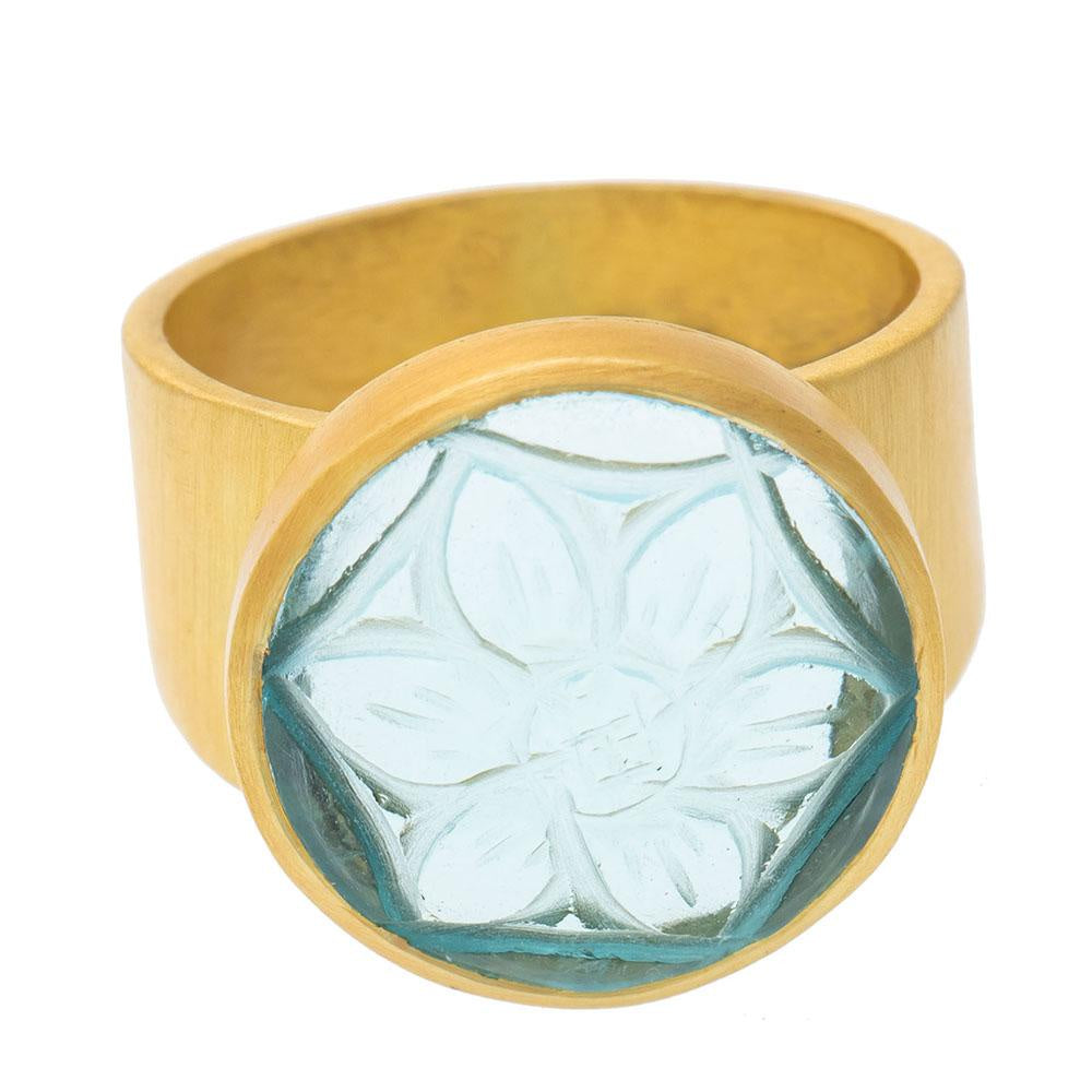 Shop Carved Round Blue Topaz Glass Ring at Rose St Trading Co