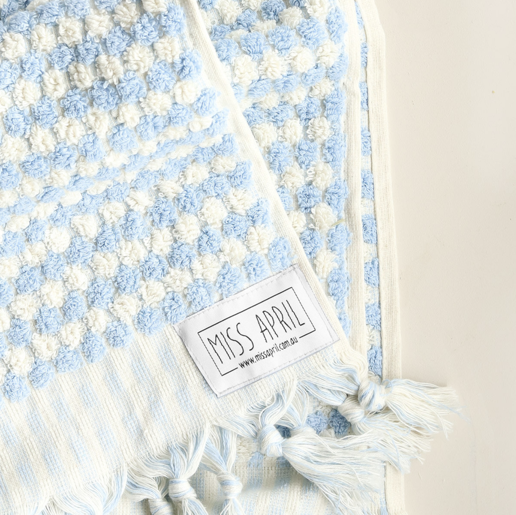 Shop Pom Pom Bath Towel - Pale Blue at Rose St Trading Co