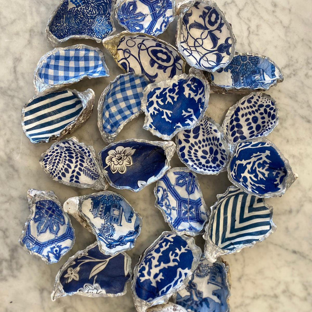 Shop Oyster Trinket Dish Blue + White | Assorted Silver at Rose St Trading Co
