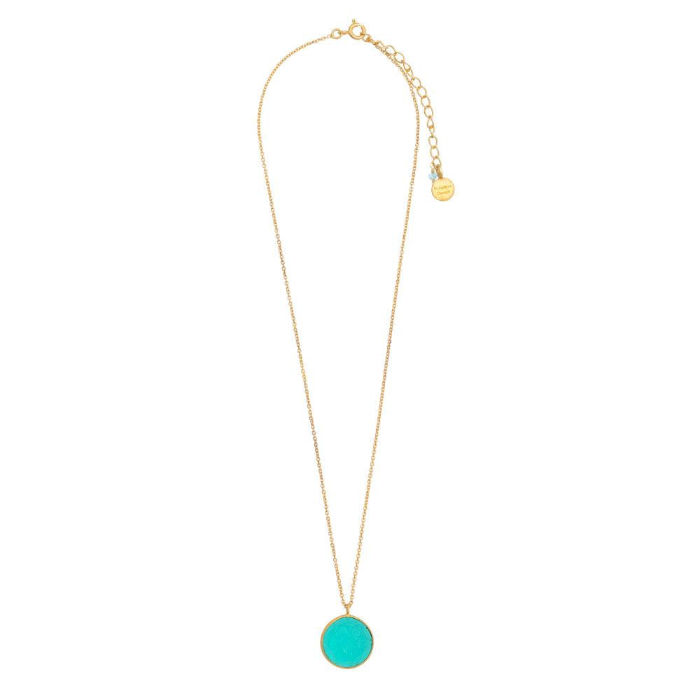 Shop Round Carved Apatite Glass Pendant at Rose St Trading Co