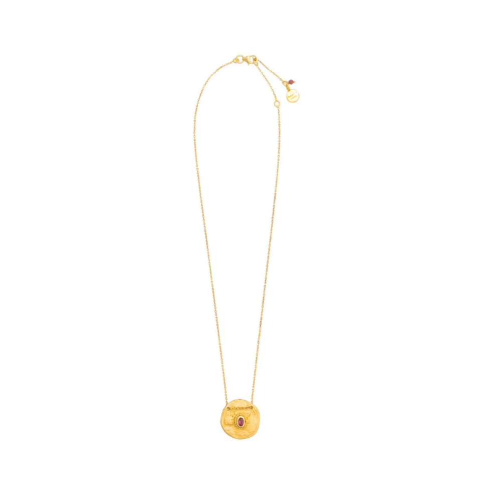 Shop Gold Plate Pink Tourmaline Coin Charm Necklace at Rose St Trading Co
