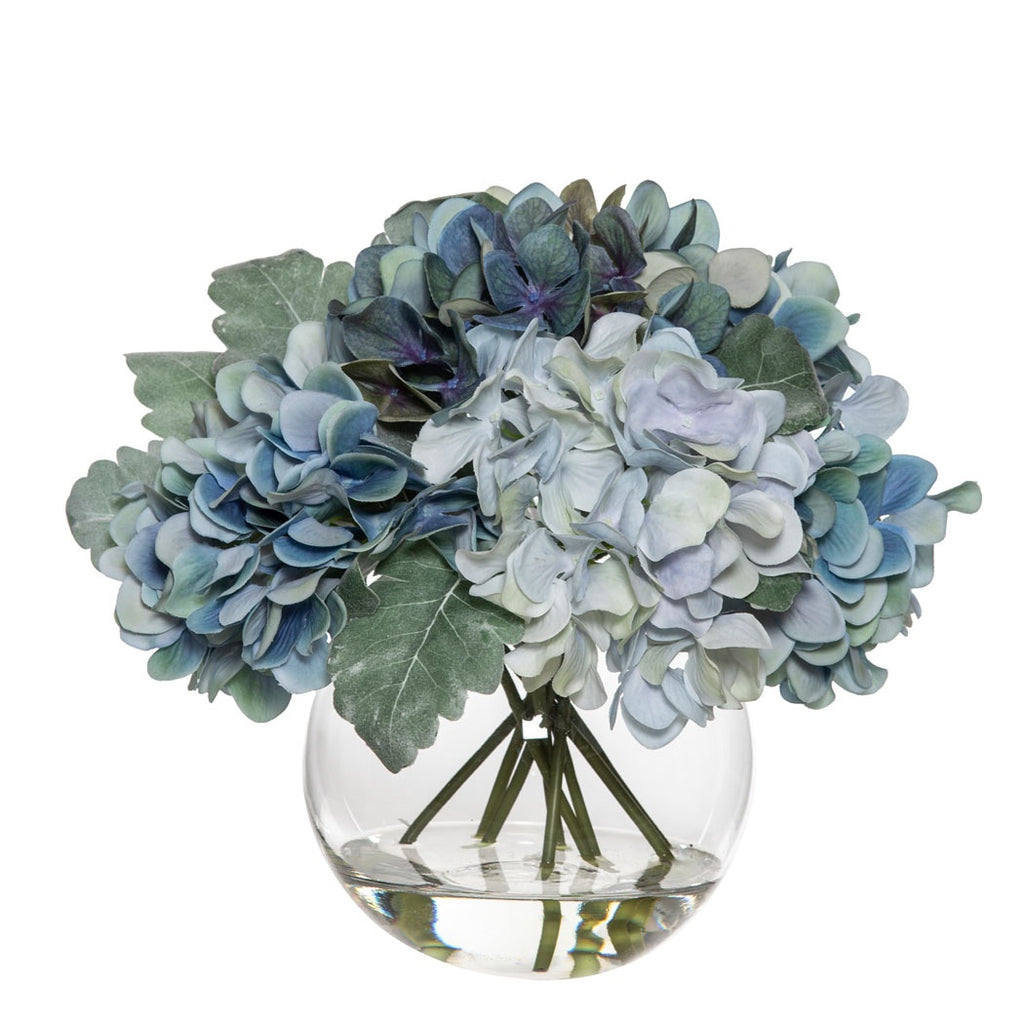 Shop Hydrangea Mix | Sphere Vase Blue at Rose St Trading Co