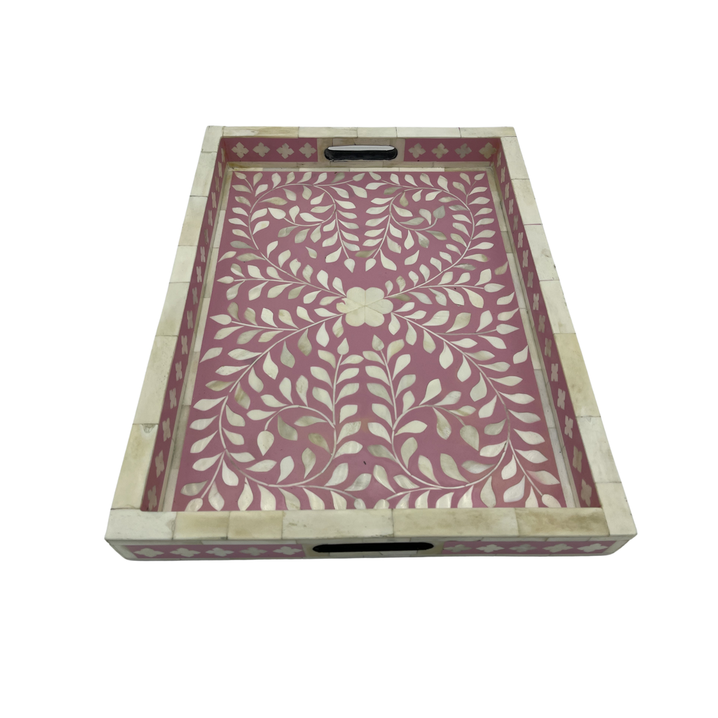 Shop Bone Inlay Tray | Pink Floral at Rose St Trading Co