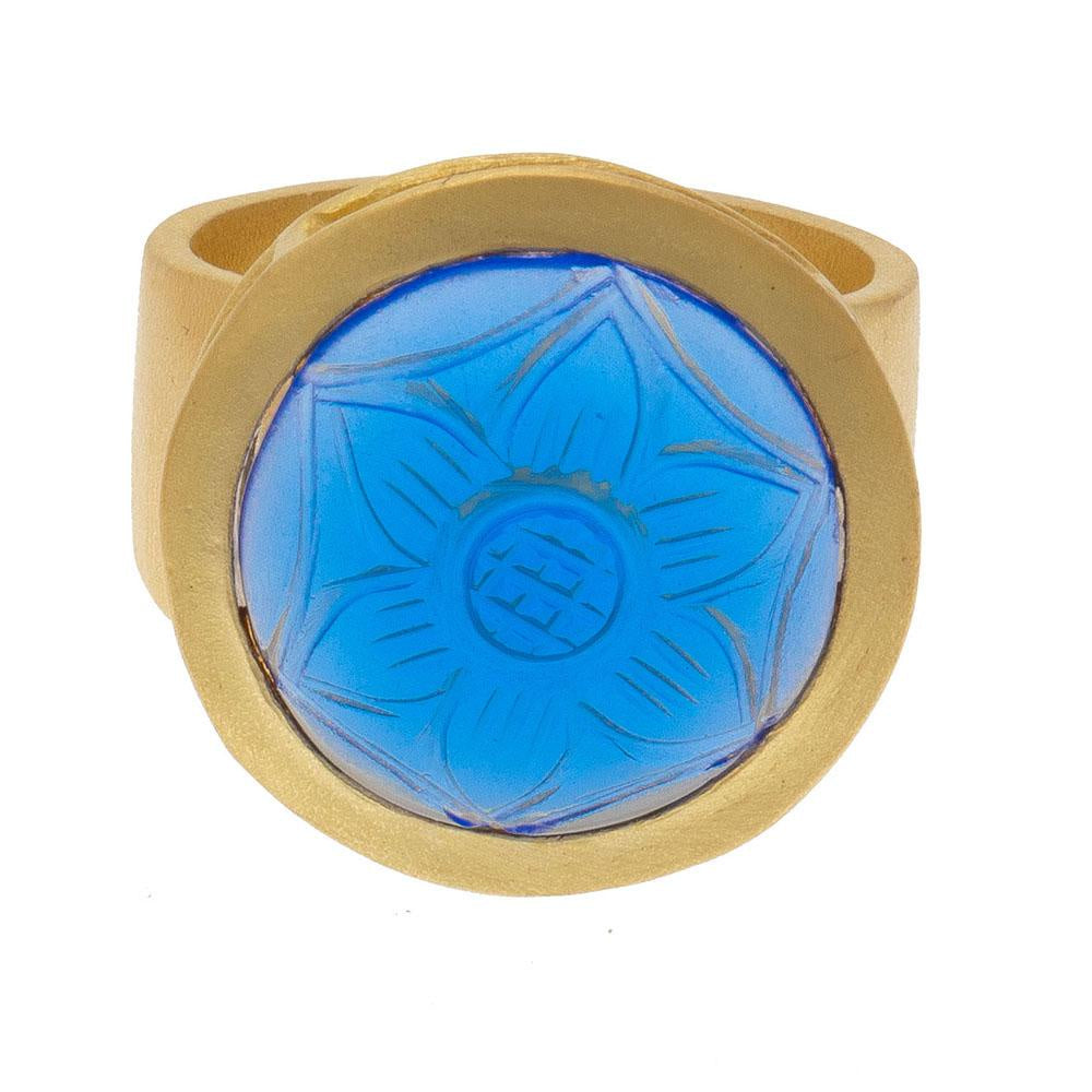 Shop Carved Round Iolite Glass Ring at Rose St Trading Co