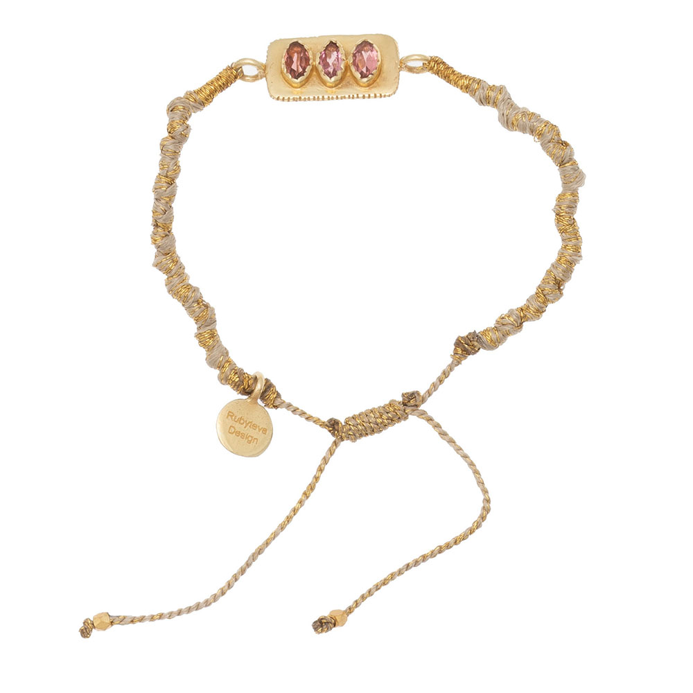 Shop Pink Tourmaline Adjustable Silk Bracelet at Rose St Trading Co
