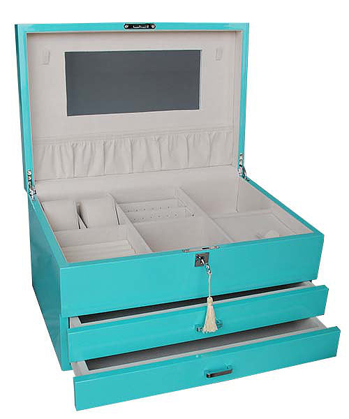 Shop Extra Large Lacquered Jewellery Box -Aqua at Rose St Trading Co