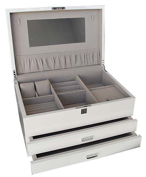 Shop Extra Large Lacquered Jewellery Box -White  *PRE ORDER NOV DELIVERY* at Rose St Trading Co