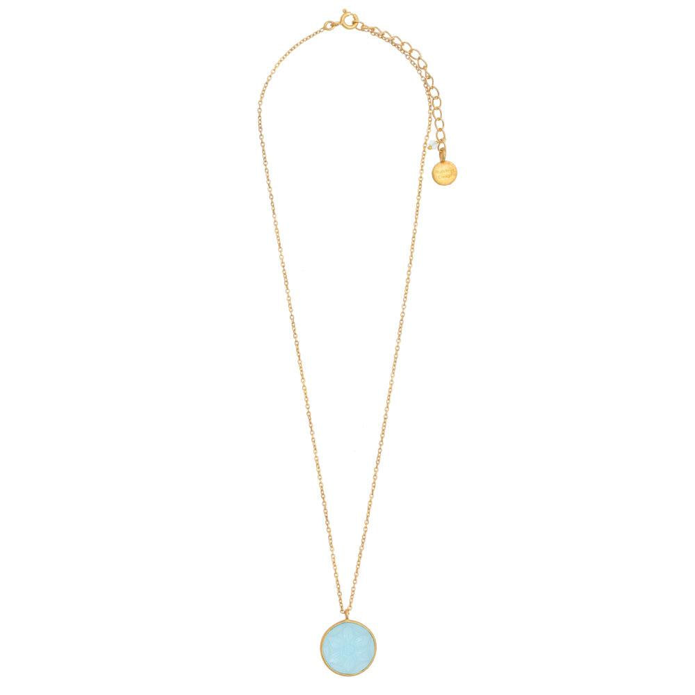 Shop Round Carved Blue Topaz Glass Pendant at Rose St Trading Co