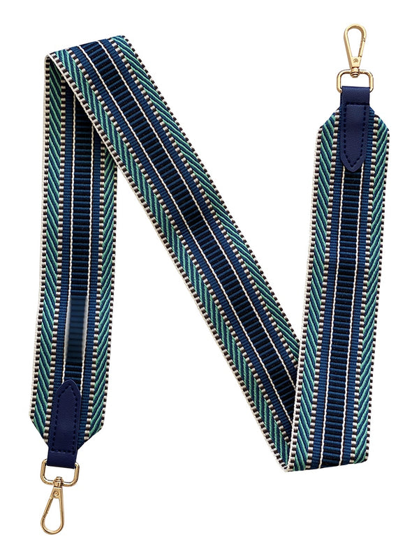 Shop Blue and Green Stripe Bag Strap - 90cm at Rose St Trading Co