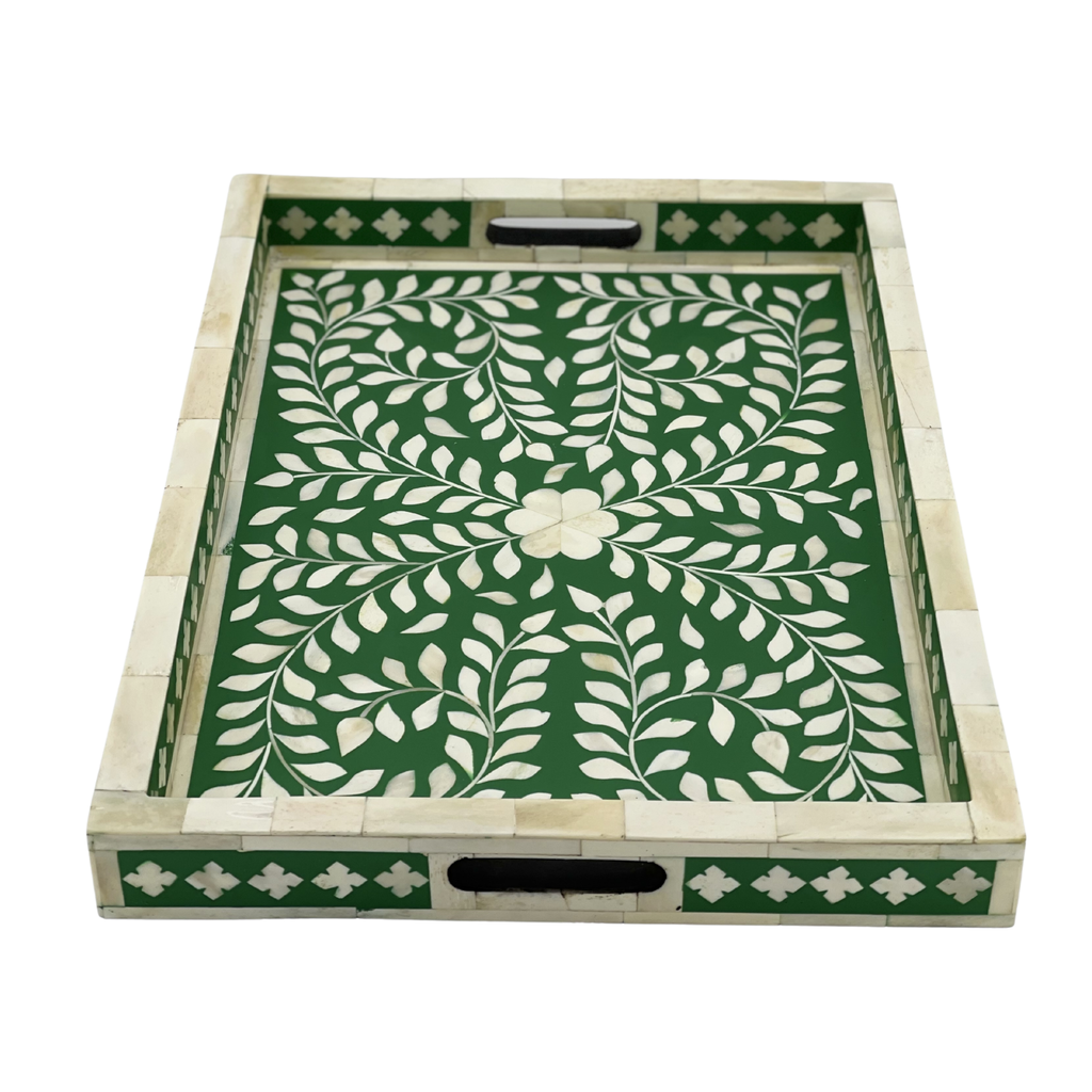 Shop Bone Inlay Tray | Green Floral at Rose St Trading Co