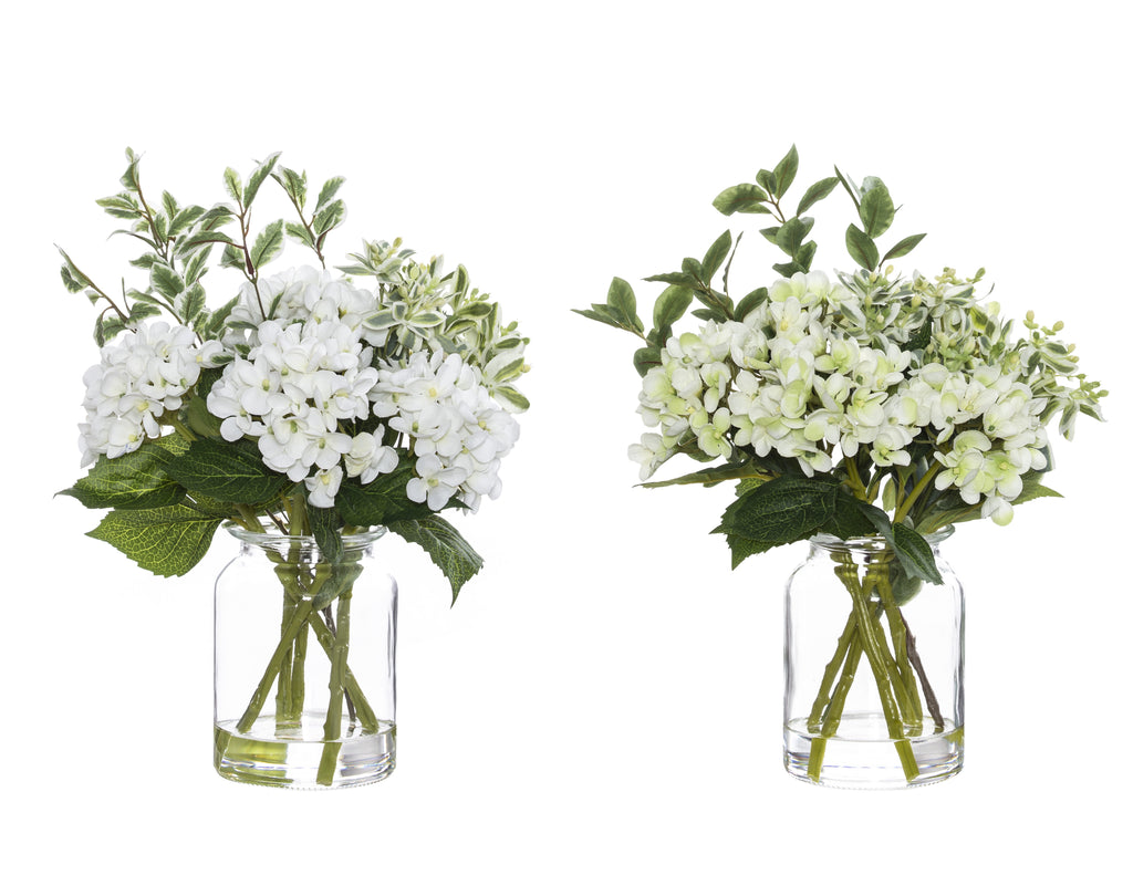 Shop Hydrangea Pick Mix in Glass Lip Vase - 37cm White at Rose St Trading Co