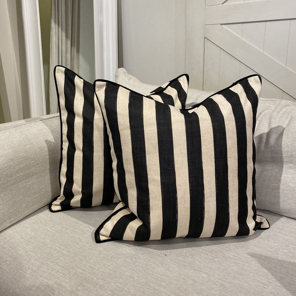 Shop Noir Stripe Cushion at Rose St Trading Co