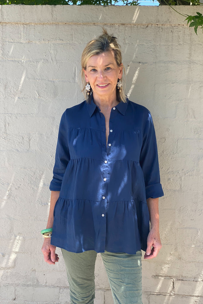Shop Navy Linen Tiered Shirt at Rose St Trading Co