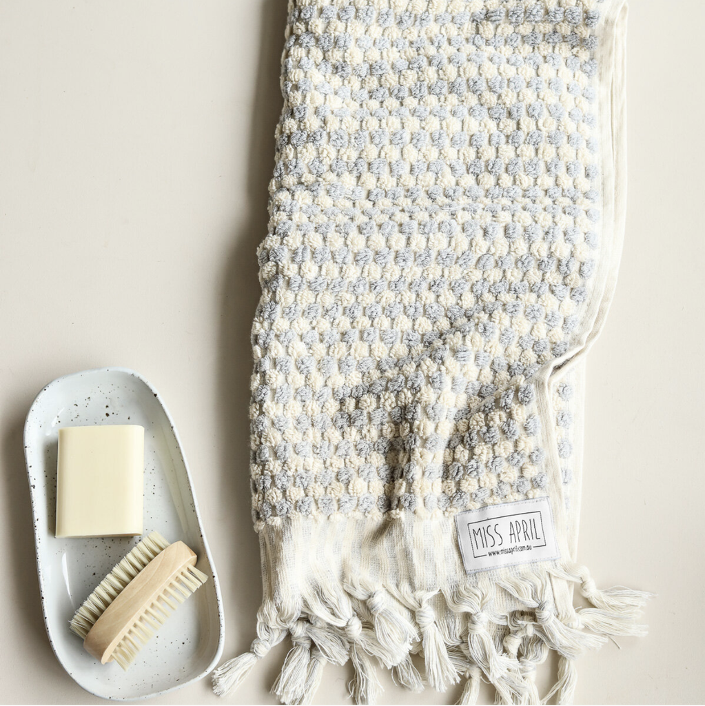 Shop Pom Pom Hand Towel - Pale Grey at Rose St Trading Co