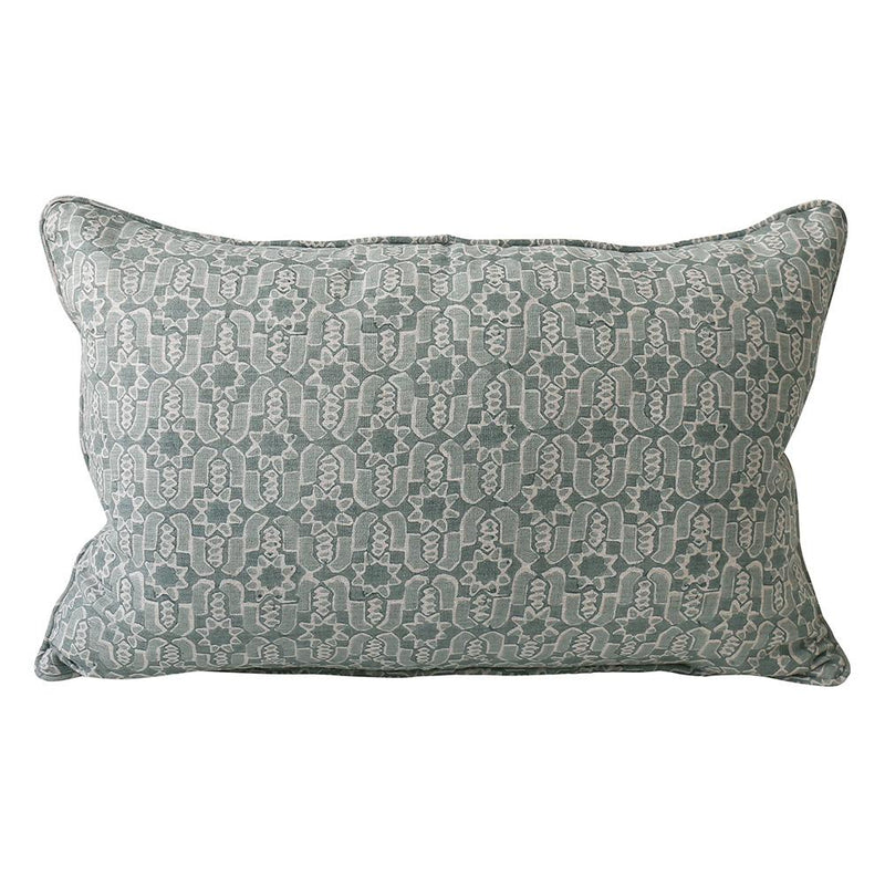 Shop Fez Celadon Linen Cushion -35 x 55cm at Rose St Trading Co