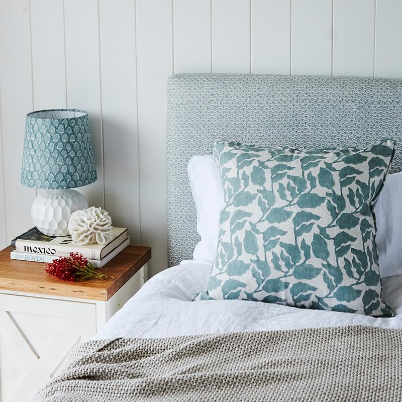 Shop Flores Celadon Linen Cushion -55 x 55cm at Rose St Trading Co