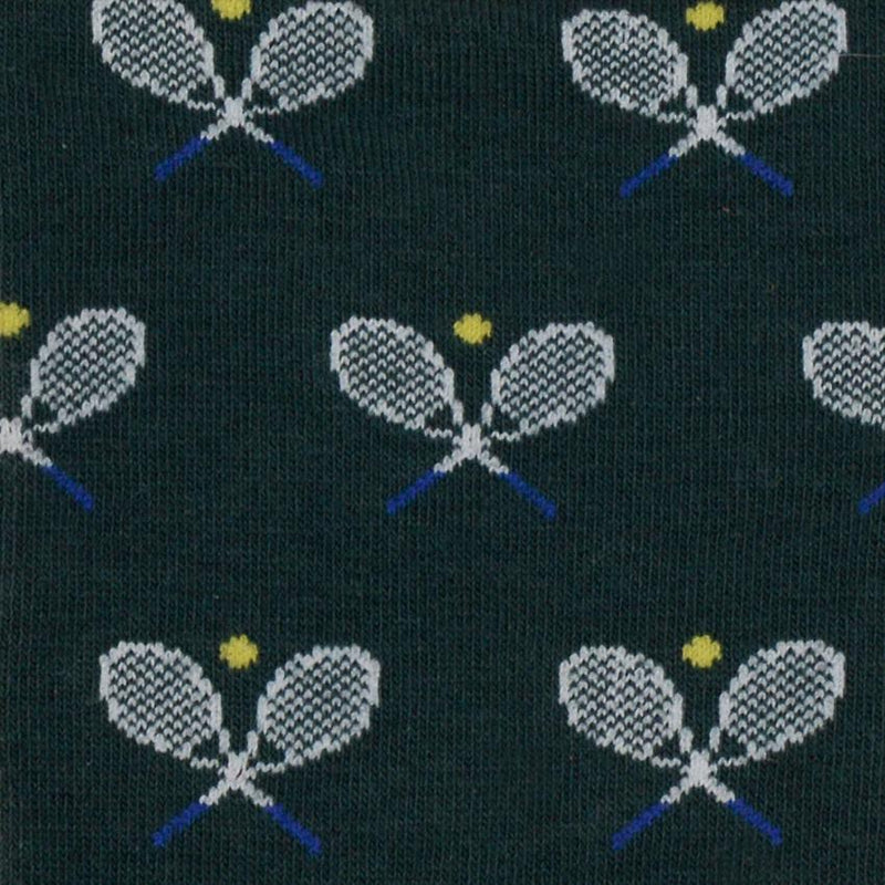 Shop Mens Socks | Dark Green Tennis Racquets at Rose St Trading Co