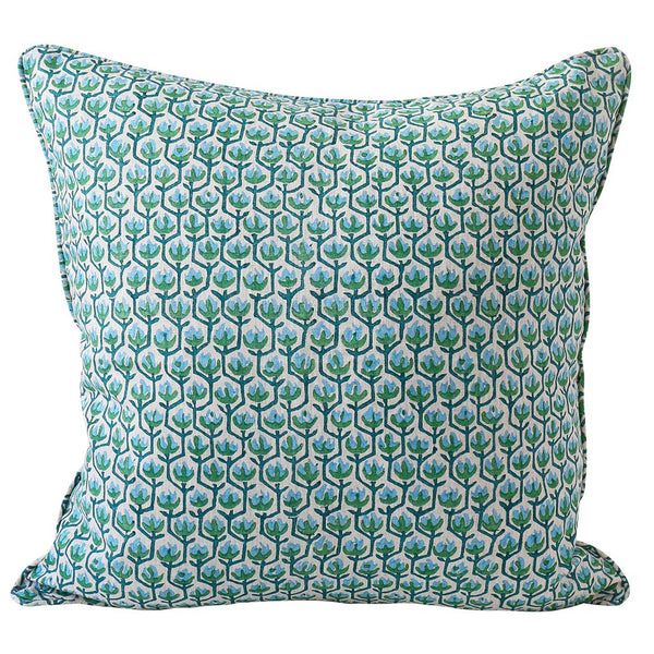 Shop Hermosa Emerald Linen Cushion - 55x55cm at Rose St Trading Co