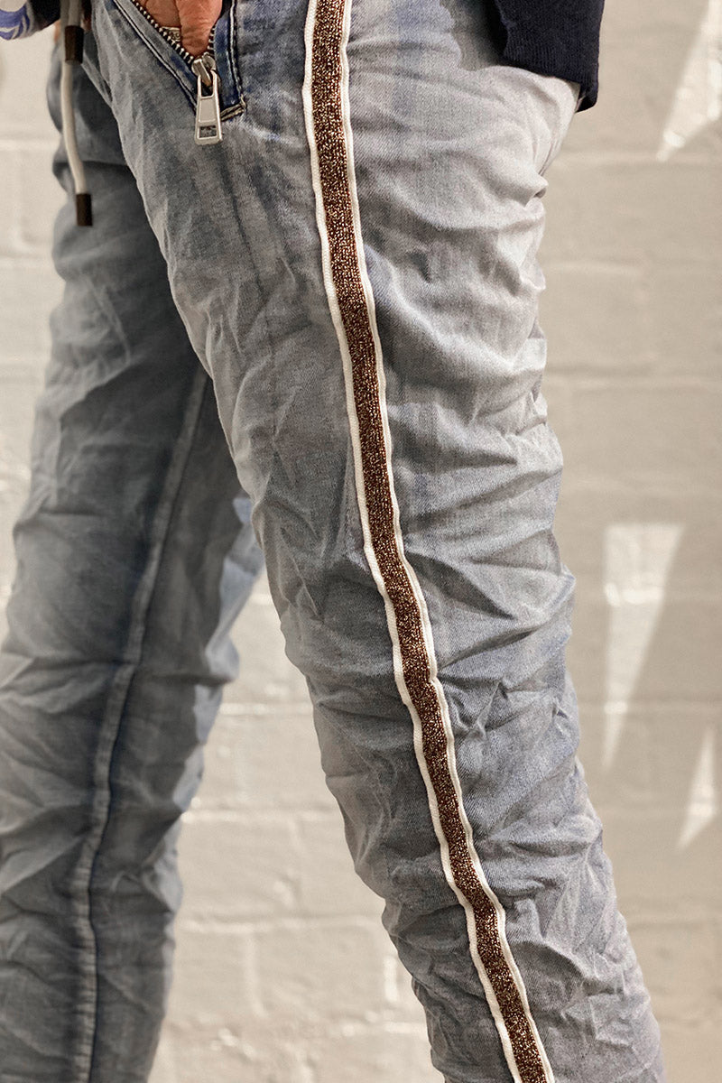 Shop Denim Jogger with Gold Trim at Rose St Trading Co