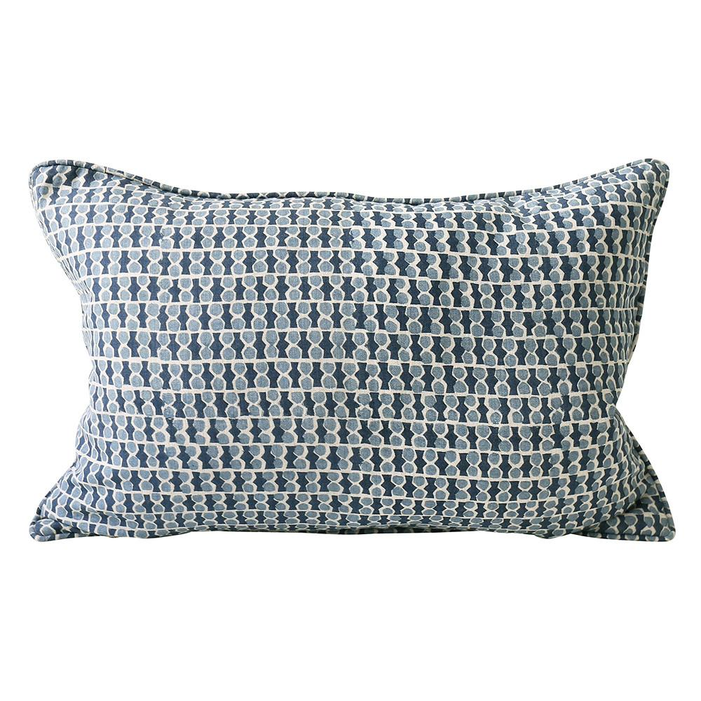 Shop Jali Azure Linen Cushion -35 x 55cm at Rose St Trading Co