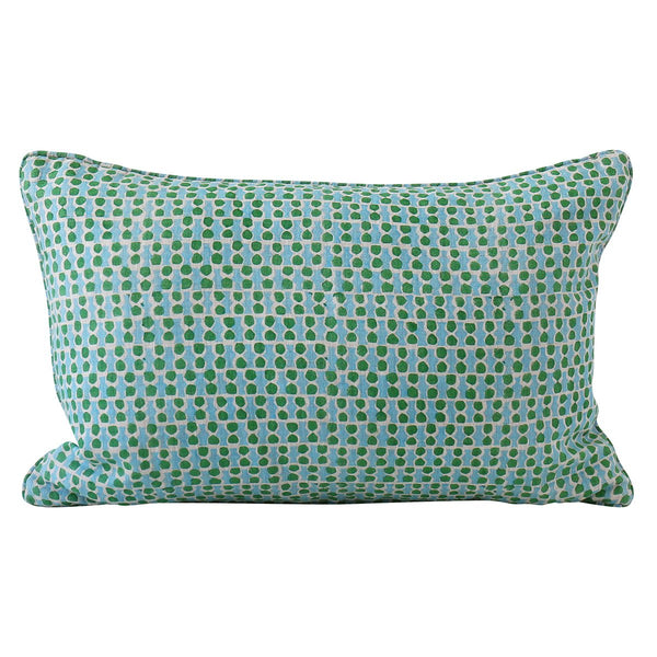 Shop Jali Emerald Linen Cushion - 35 x 55cm at Rose St Trading Co