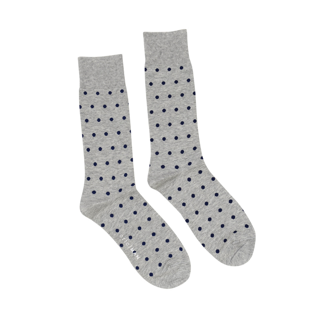 Shop Mens Socks | Grey + Navy Polka at Rose St Trading Co