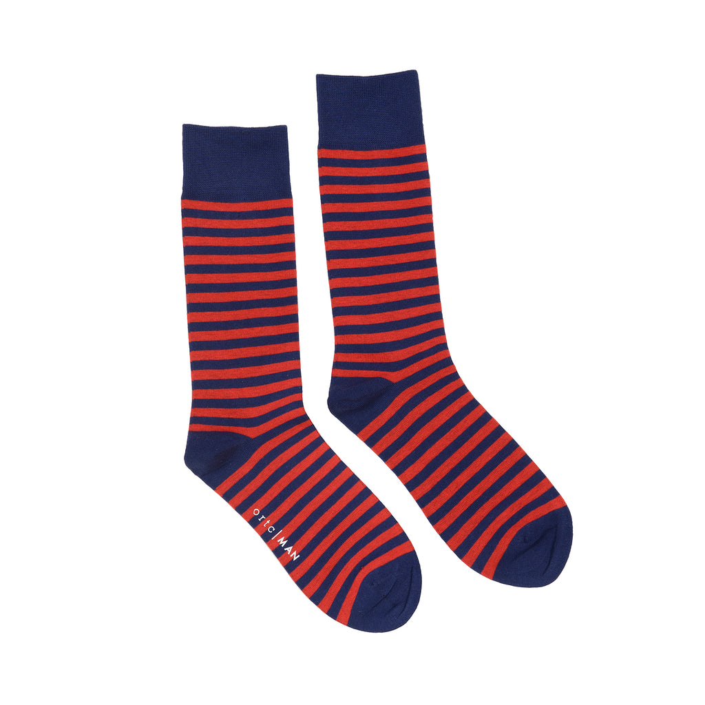 Shop Mens Socks | Red + Navy Stripe at Rose St Trading Co