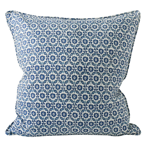 Shop Suzani Azure Linen Cushion - 55cm x 55cm at Rose St Trading Co