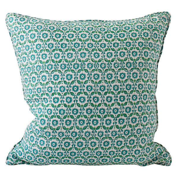 Shop Suzani Emerald Linen Cushion - 55x55cm at Rose St Trading Co