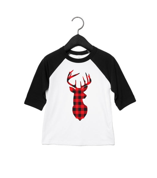 Buffalo Plaid Stag Raglan Toddler and Youth Shirt