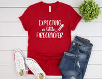 Expecting A Little Firecracker Shirt - 4th Of July Pregnancy Announcement Shirt